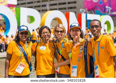TORONTO,JULY 25,2015: Toronto 2015 Pan Am and Parapan Am Games volunteers are honored by the city at Nathan Phillips Square.The Mayor recognizes the vital help the volunteers gave the event success. - stock photo