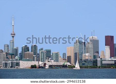 TORONTO - JULY 2015:  Toronto's city plan has successfully encouraged redevelopment of former industrial land on the waterfront as seen in Toronto in July 2015.