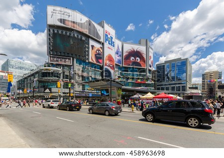 TORONTO - 2 July 2016:  Yonge-Dundas Square is considered as Toronto's Times Square. - stock photo