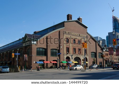 TORONTO - JUNE 12: Cost of redeveloping north building of St. Lawrence market increases $15M. Photo of original market building, taken June 30, 2013. - stock photo