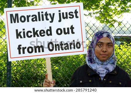TORONTO-June 04,2015: Parents at Valley Park School in Toronto argue that sexual orientation and masturbation, does not mesh with their values - stock photo