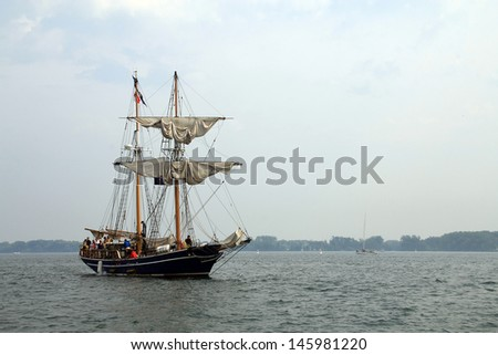 TORONTO - JUNE 22: Sailing ship at  RedPath Waterfront Festival  - tall ships - in June 22, 2013 Toronto, Canada - stock photo