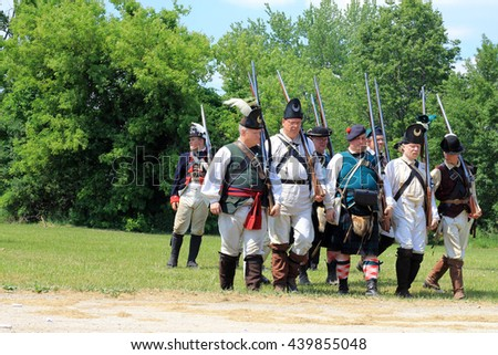 TORONTO ?? JUNE 19, 2016: The group of volunteers at the battle  of Black Creek revolutionary war re-enactment in Black Creek Pioneer village in June 19, 2016 in Toronto, Canada.