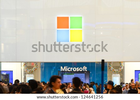 TORONTO - NOVEMBER 18: Shoppers pass by the new Microsoft store on November 18, 2012. Microsoft store opens its first international location outside the U.S. in Toronto, Canada on November 16th, 2012.