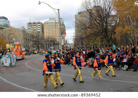 TORONTO - NOVEMBER 20: Young knights at 107th Annual Santa Claus Parade, which  entertained thousands of visitors this year on November 20, 2011 in Toronto, Canada.