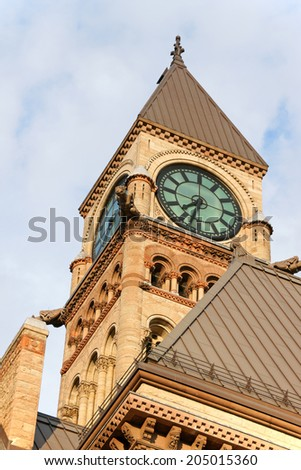 Toronto Old City Hall in new Gothic style in downtown Toronto, Ontario, Canada. - stock photo