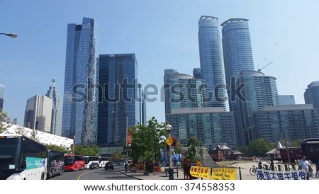TORONTO, ON, CANADA - JUNE, 2015 - Commercial buildings in the Toronto downtown.