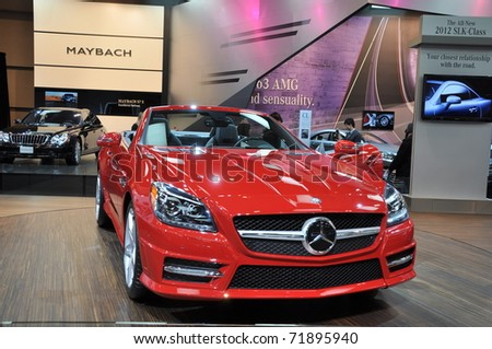 TORONTO, ON - FEB 24: The All-New 2012 Mercedes Benz SLK Class launch at the International Canadian Auto Show on February 24, 2011 in Toronto, Ontario in Canada - stock photo