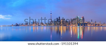 Toronto, Ontario, Canada - at twilight. - stock photo