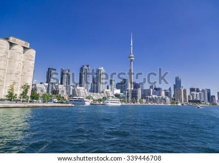 Toronto, Ontario, Canada, Aug.15, 2015, Amazing view of Toronto skyline on sunny summer day - stock photo