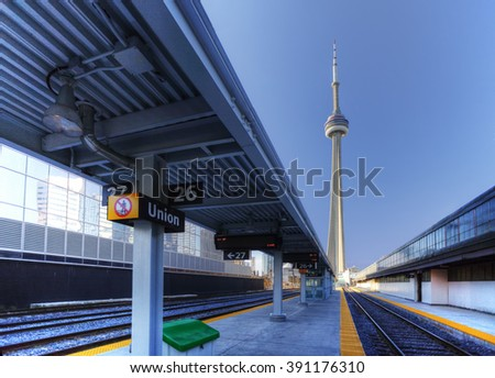 TORONTO, ONTARIO/ CANADA- DECEMBER 16,2016: A view of the rail lines in downtown Toronto [Toronto] - stock photo