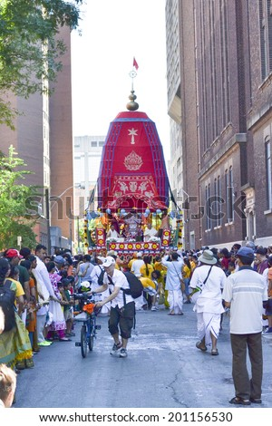 TORONTO, ONTARIO/CANADA - JULY 13:  A rath being pulled on  41st Annual Festival of India on July 13, 2013 in Toronto,Canada.  - stock photo