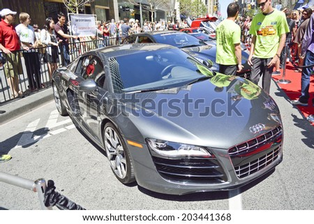 Toronto, Ontario, Canada - JUNE 28, 2014: 5th Annual Yorkville Exotic Car Show,  Bloor & Bay, over 120 beautiful examples of classic & exotic cars, including Porsche's, Lamborghini's, Ferrari's.  - stock photo