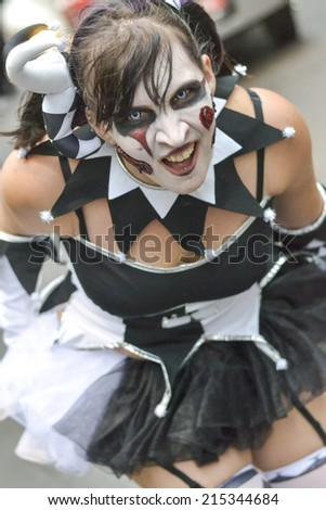 TORONTO, ONTARIO/CANADA - 26th SATURDAY  OCTOBER 2013 : Girl  dress up as zombie on 11th annual Zombie in Toronto,Canada.  - stock photo