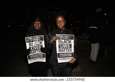 TORONTO, ONTARIO/CANADA - 25th Tuesday November  2014 : Toronto's Black Community takes action in solidarity with Ferguson protesters in Toronto, Canada.