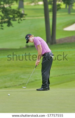 TORONTO, ONTARIO - JULY 21: U.S. golfer Hunter Mahan during a pro-am event at the RBC Canadian Open golf on July 21, 2010. - stock photo