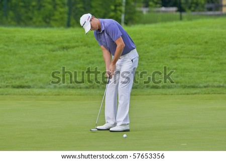 TORONTO, ONTARIO - JULY 21: U.S. golfer John Mallinger putts during a pro-am event at the RBC Canadian Open golf on July 21, 2010 in Toronto, Ontario.