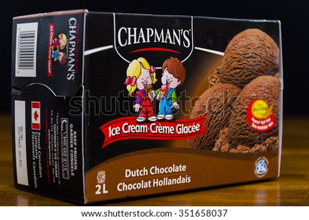 TORONTO, ONTARIO - NOVEMBER 20, 2015 :Box of Chapman's Brand Chocolate Ice Cream in an illustrative editorial image