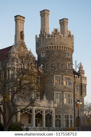 Toronto, Ontario - November 12, 2016: South west castle tower at the Casa Loma castle in Toronto in the evening