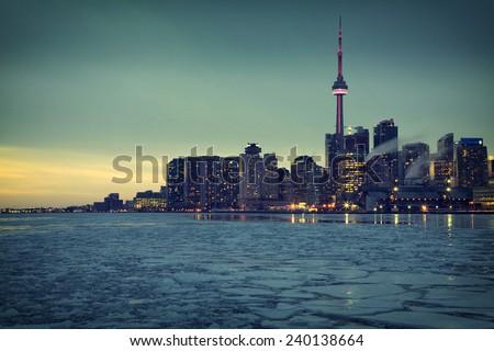 Toronto's Skyline III. One of the best views of Toronto from Cherry Street, Ontario, Canada.  - stock photo