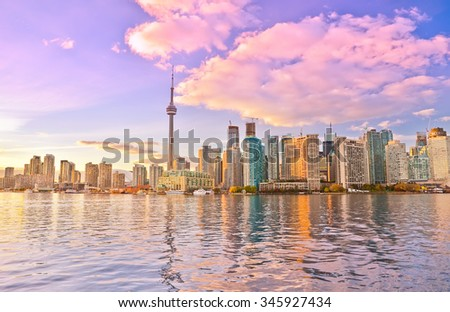 Toronto skyline at dusk in Ontario, Canada. - stock photo