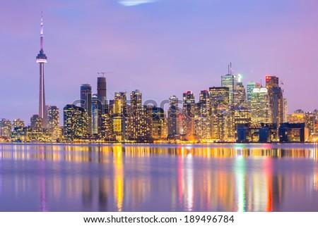 Toronto Skyline at dusk, Ontario, Canada - stock photo