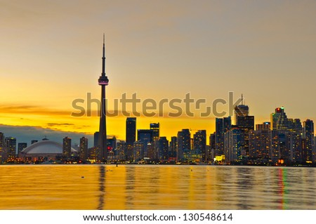 Toronto Skyline at sunset - stock photo