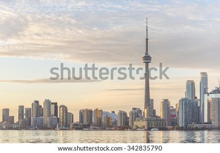 Toronto skyline at sunset. - stock photo