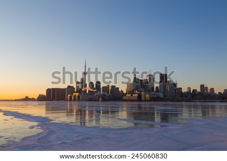 Toronto Skyline at Sunset in the Winter with copyspace  - stock photo
