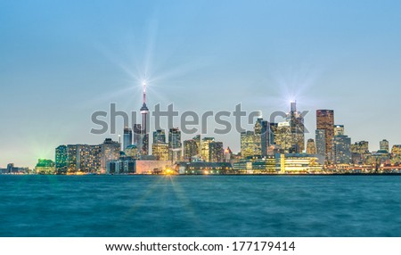 Toronto skyline by Night - Blue Hour after sunset - stock photo
