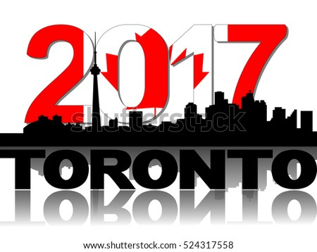 Toronto skyline 2017 flag text illustration
