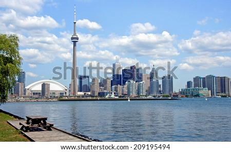 Toronto Skyline from island park - stock photo