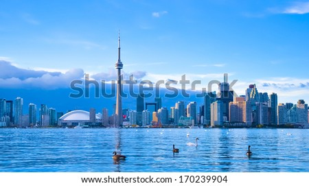 Toronto Skyline panoramic view with modern buildings and landmarks - stock photo