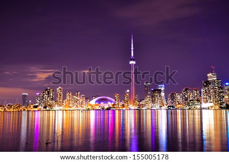 Toronto Skyline view from center island at Night - stock photo