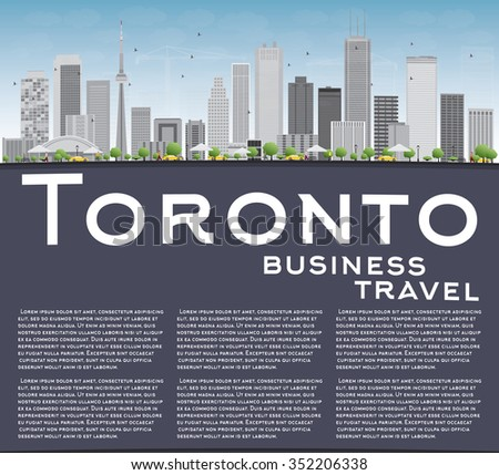 Toronto skyline with grey buildings, blue sky and copy space. Business travel and tourism concept with place for text. Image for presentation, banner, placard and web site. - stock photo
