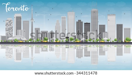 Toronto skyline with grey buildings, blue sky and reflection. Business travel and tourism concept with place for text. Image for presentation, banner, placard and web site. - stock photo