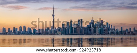 Toronto Skyline with orange light- Toronto, Ontario, Canada