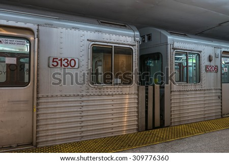 Toronto Subway. Underground TTC Toronto subway cars. - stock photo