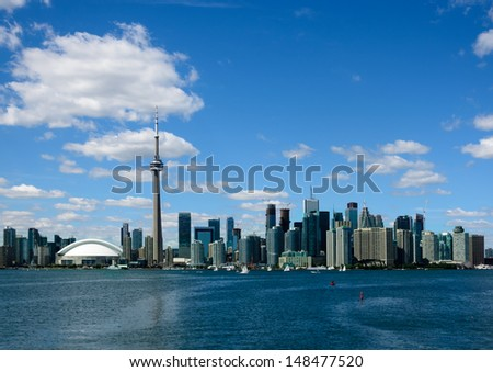 Toronto waterfront from harbor - stock photo