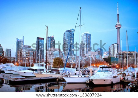 Toronto Yacht Club with Toronto Cityscape as background - stock photo