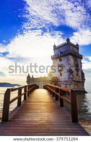 Torre de Belem - famous landmark of Lisbon , Portugal - stock photo
