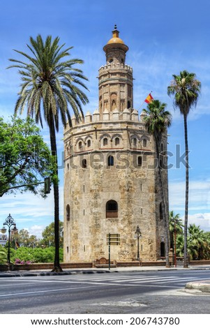 Torre del Oro or Golden Tower, a medieval Arabic military dodecagonal watchtower in Seville, southern Spain, Andalusia, Spain. - stock photo