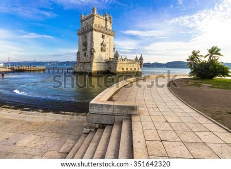 Torre of Belem - famous landmark of Lisbon, Portugal - stock photo