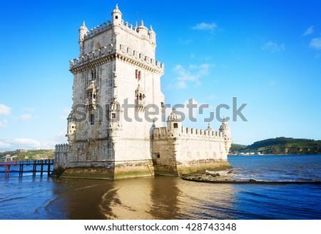Torre of Belem, famouse landmark of Lisbon, Portugal, retro toned - stock photo