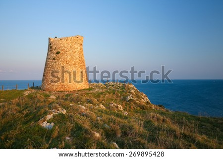Torre Sant Emiliano is a defensive tower built in the 16th Century under the reign of Charles V, near Otranto, a town in the province of Lecce, Apulia, Italy. - stock photo