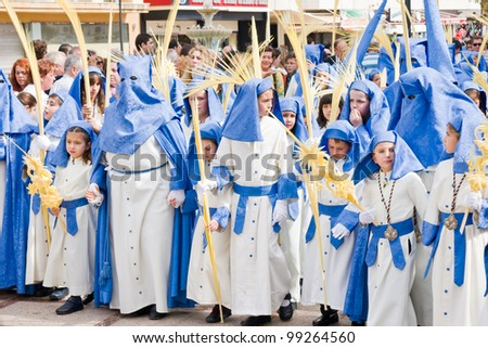 TORREMOLINOS, SPAIN - APRIL 01: traditional processions of Holy Week in the streets on April 01, 2012 in Torremolinos, Spain. Procession of Jes?s a la Entrada de Jerusal?n Pollinica.
