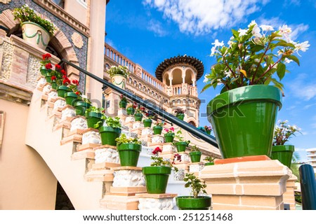 TORREMOLINOS, SPAIN - OCTOBER 18: Navajas House (arabic building) on October 18, 2014 in Torremolinos, Malaga, Spain. It was built in 1925. - stock photo