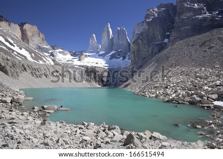Torres del Paine mountains and lake, National Park Torres del Paine in southern Chile, Patagonia. - stock photo