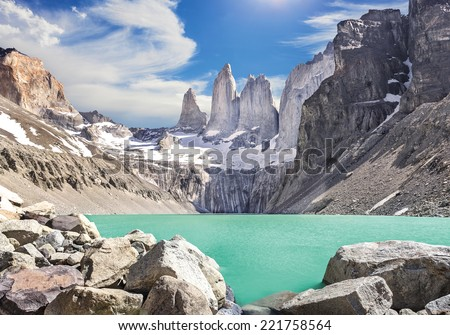 Torres del Paine mountains, Patagonia, Chile  - stock photo