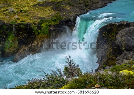 Salto Grande Waterfall In Torres Del Paine Chile Stock Photo 50699312